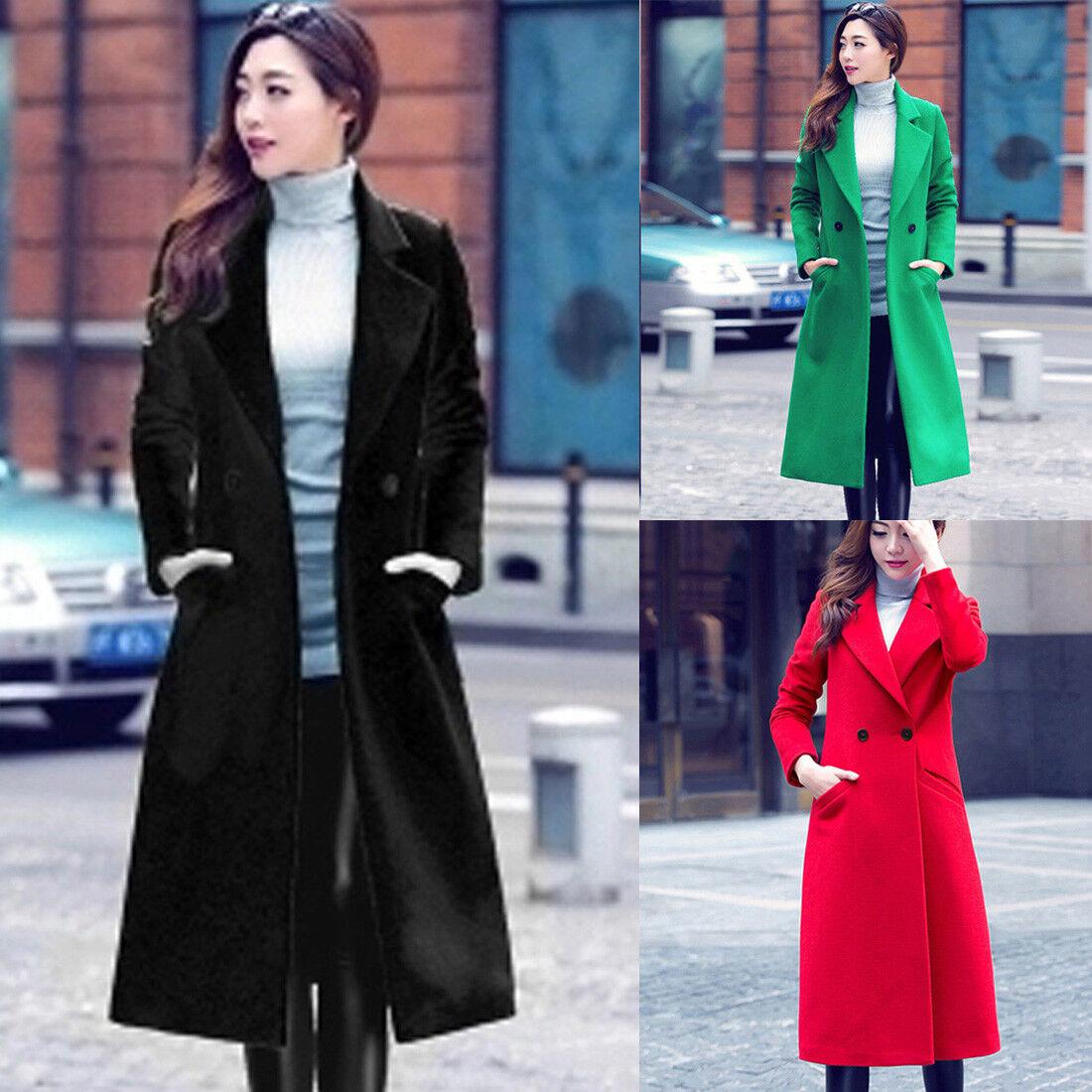 Fashion Women Autumn Winter Long Woolen Coat Overcoat Parka Outwear Cardigan