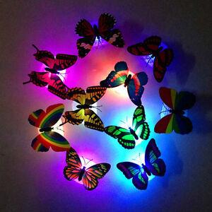 Das Bild Wird Geladen Farbveraenderung Schmetterling Led Nacht Lampe  Schlafzimmer Wand Dekoration
