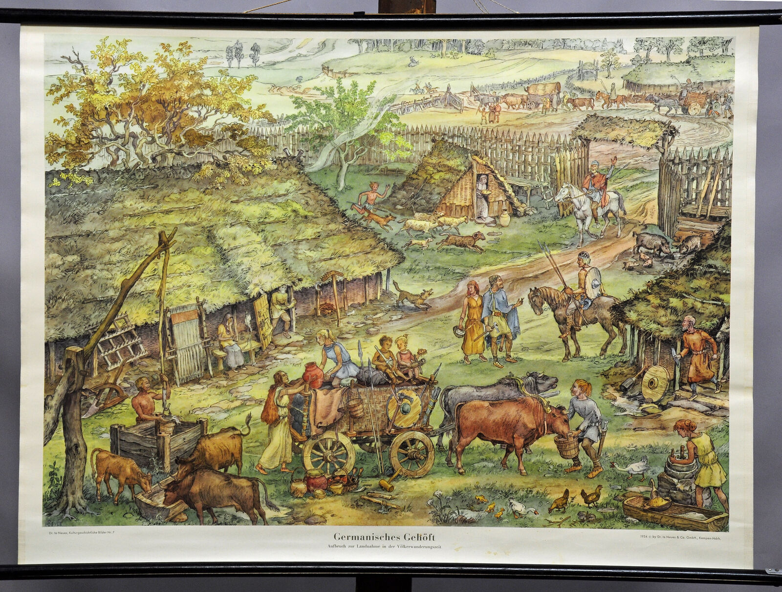Traditional wall chart poster Germanic homestead migration period history