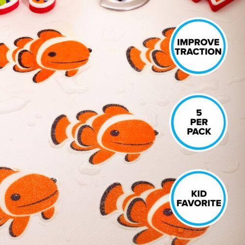 Clownfish Tub Tattoos Kids Non-Slip Bath Tub Treads by SlipX Solutions 5 Pack