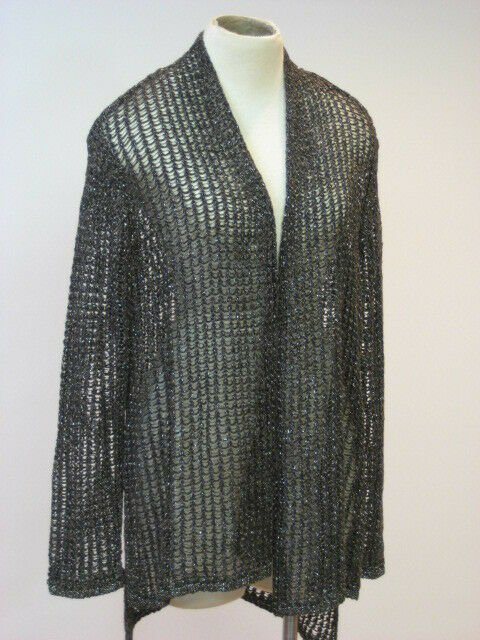 EILEEN FISHER Sparkle Mesh Open Front Straight Straight Straight Hi Lo Cardigan L Large NWT  288 57630b