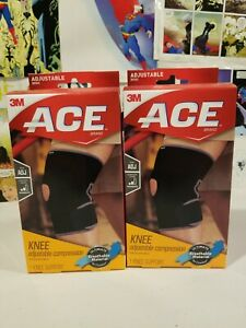 Lot-of-2-ACE-Adjustable-Compression-Knee-Support-207247-moderate-level-NEW