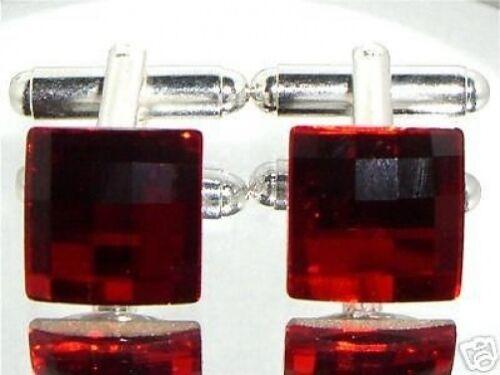 Wedding Groom Gift Chessboard Red Crystal Cufflinks made with SWAROVSKI ELEMENTS