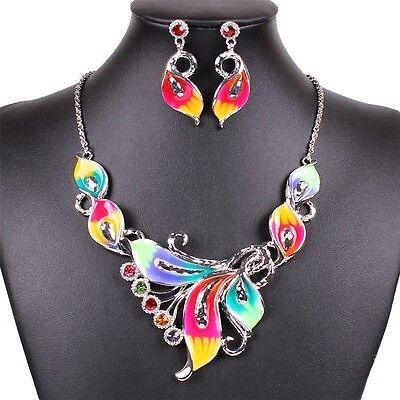 Women's Exotic Multi-Colored Enamel Flower Bib Choker Necklace Earring Set