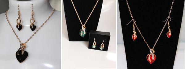 2-teiliges Schmuckset Damen Ohrringe, Kette Herz-kristall Neu Attraktive Designs;