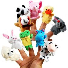NEW 10X Zoo Farm Animal Plush Hand Puppets Finger Soft Toy To Baby Children Kids