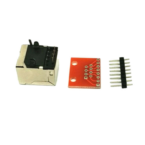 10 Sets 8 Pins RJ45 Connector PCB and Breakout Board Kit for Check Ethernet