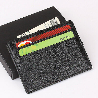 Men's Slim Wallet Genuine Real Leather Mini Card Holder ID Cover Purse Gift Box