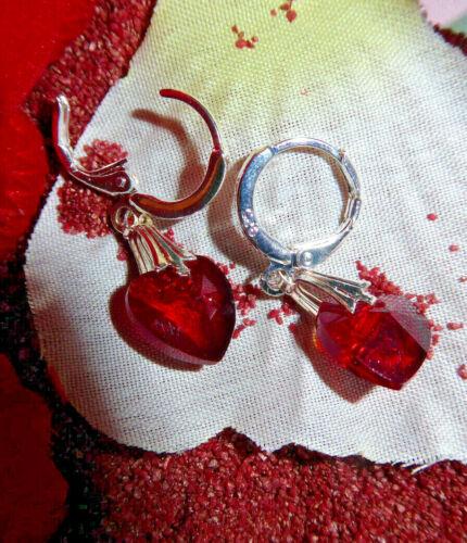 Creole 925 Silber,Kristall Weiß oder Rot 10mm Herz Organzasäckche