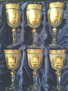 Czech-bohemia-crystal-glass-Wine-glasses-034-PRAHA-034-18cm-decorated-gold-6pc