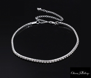 White-Gold-PL-Cubic-Zirconia-CZ-Stretch-Choker-Tennis-Chain-Necklace-Jewellery