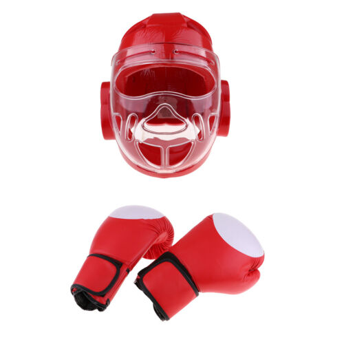 Headgear Head Guard and Mitts Protection for MMA Kick Boxing Taekwondo