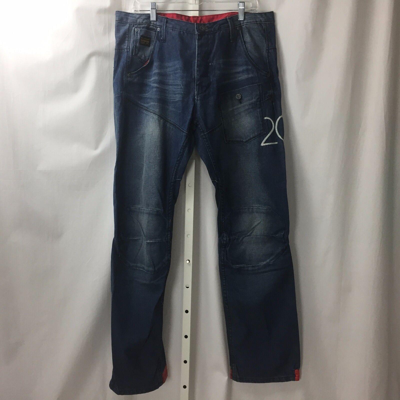 G Star Originals Raw Denim Medium Wash Jeans Sz 36W 32L