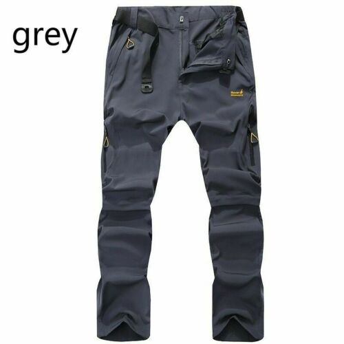 Mens Quick Dry Pants Climb Trousers Outdoor Hiking Long Short Casual Black New