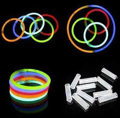 """20 x 8"""" Glow Sticks Bracelets Necklaces Neon Colours Party Favors Rave"""