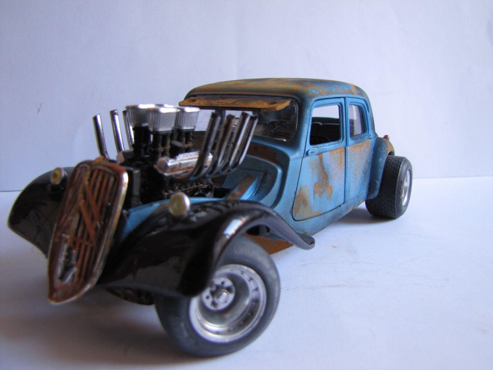 Citroen traction hot rod rat rod v8 auto bburago 1 24 rust
