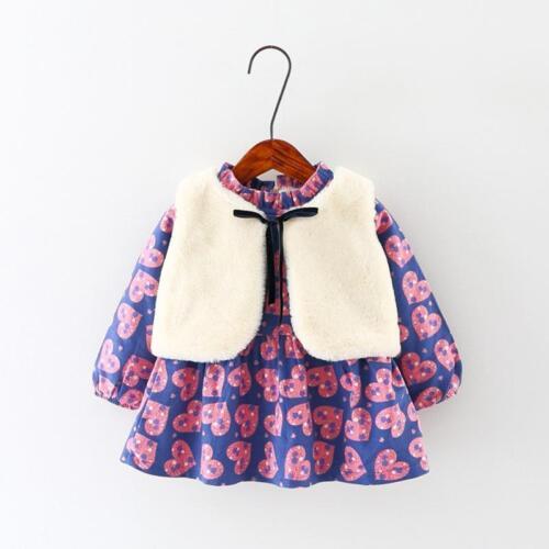 2pcs bébé filles automne hiver bébé à manches longues Robe à fleurs Gilet Vêtements Set