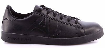 Scarpe Uomo Sneakers AJ Armani Jeans 06565YO12 Nero Black Pelle Logo Nuove New
