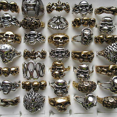 Wholesale & Job Lots 5 - 100Large Skull Skeleton Metal Rings For Men and Women