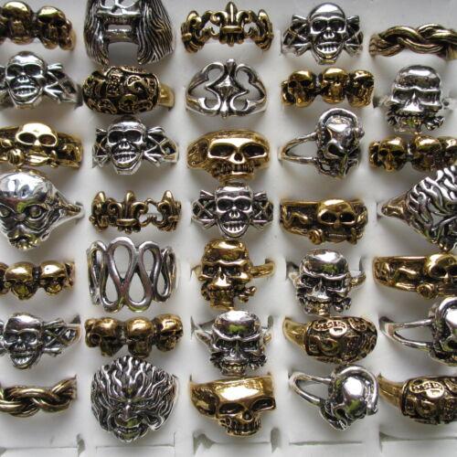 Wholesale /& Job Lots 5-100Large Skull Skeleton Metal Rings For Men and Women