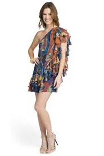 Catherine Malandrino Malandrino Malandrino Tempest One Shoulder Asymmetric Crystal Silk Dress 0 US bbee05