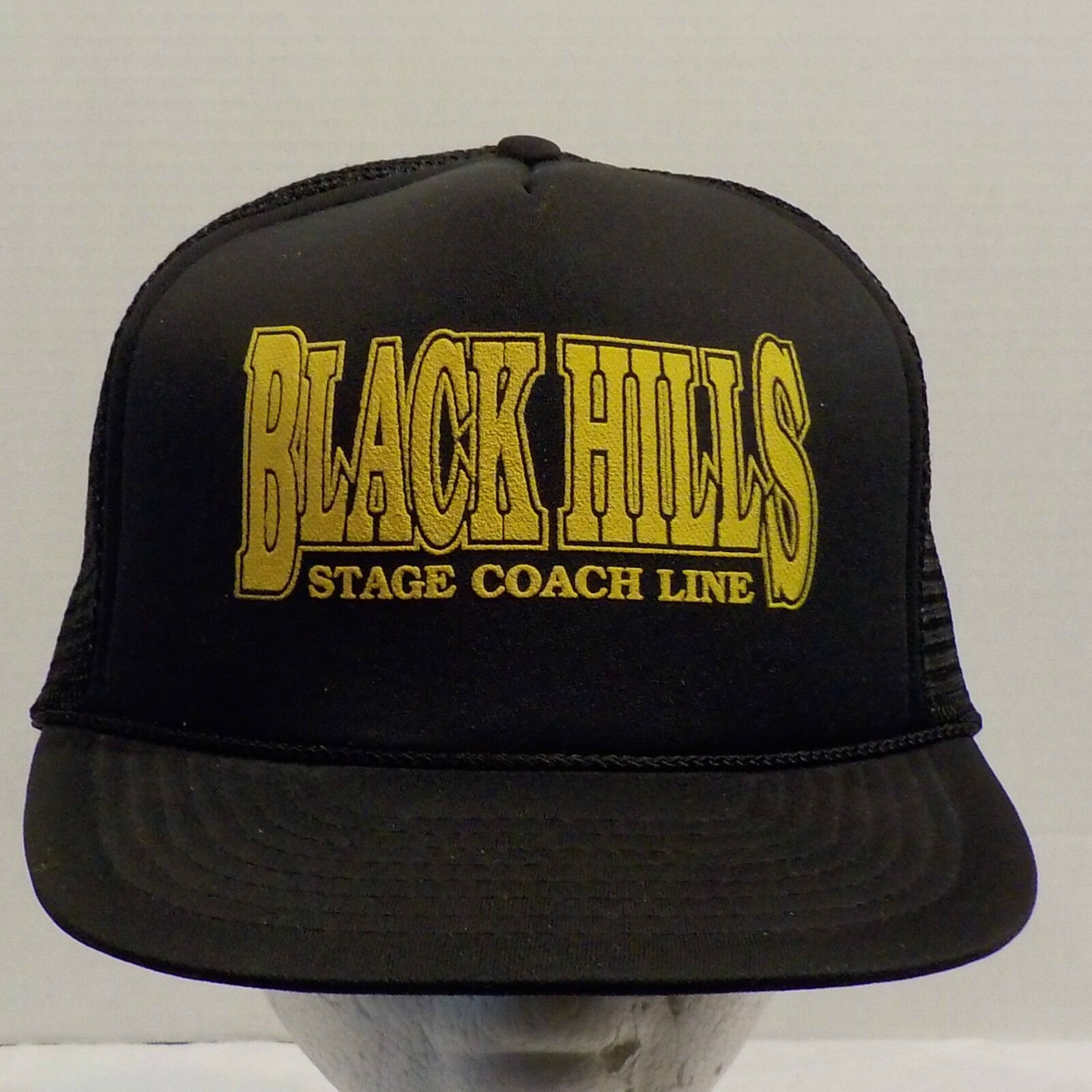 Black Snap Hills Stage Coach Lines Snap Black Back Truckers Dad Hat Baseball Cap a527ee