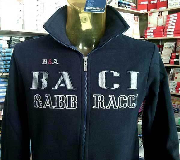 Sweat hommes Baci & Abbracci coton avec logo brodé e poches art BAM1523
