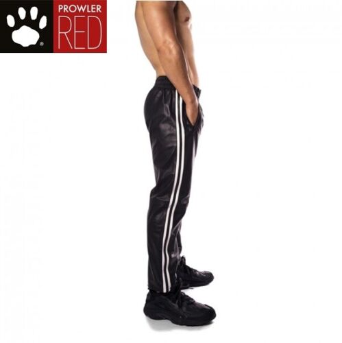 Prowler RED Leather Joggers Black//White SMALL Elasticated Waistband Sport Look