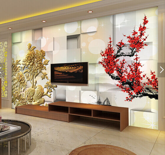 3D ROT Plum Blossom Painting Paper Wall Print Wall Decal Wall Deco Indoor Murals