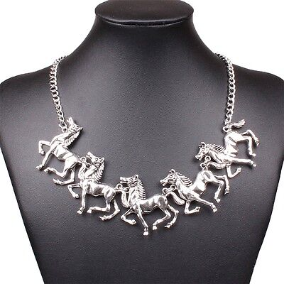 New big horse pendanrt adjustable silver chain Women collar Necklace jewelry