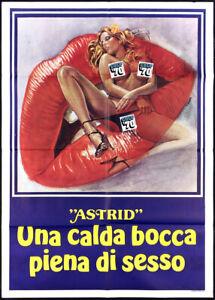 """ASTRID"" UNA CALDA BOCCA PIENA DI SESSO MANIFESTO ADULT SEX 1975 MOVIE POSTER 2F"