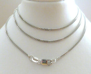 9ct-Solid-White-Gold-Diamond-Cut-Curb-Chain-Link-Necklace-50cm-039-s-20-034-N96