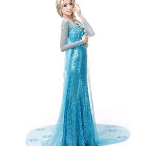 Image is loading adult-frozen-queen-elsa-costume-queen-elsa-fancy-  sc 1 st  eBay & adult frozen queen elsa costume queen elsa fancy dress costume ...