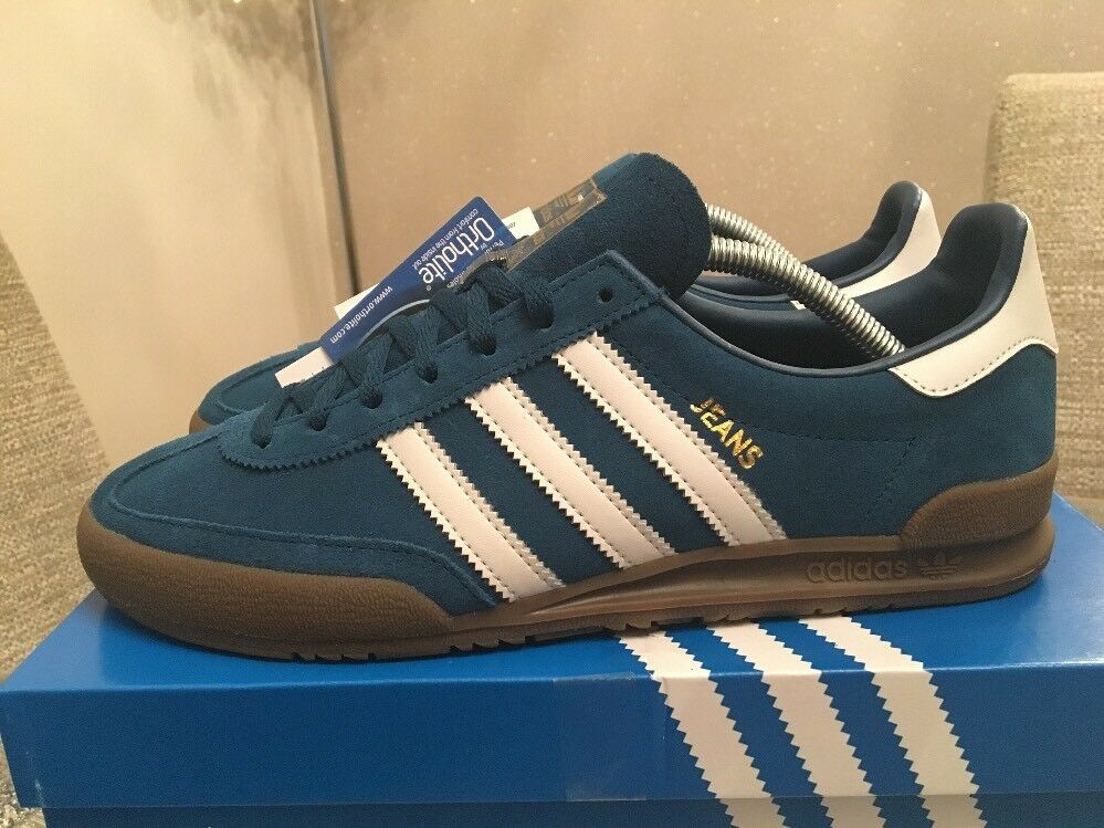 Retro Adidas Jeans  bluee White Gum Size 8 Trainers 80s Football Casual