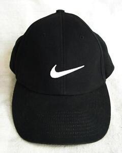 45cf872393c WHITE SWOOSH NIKE BLACK FABRIC HAT LID CAP W VELCRO FASTENER