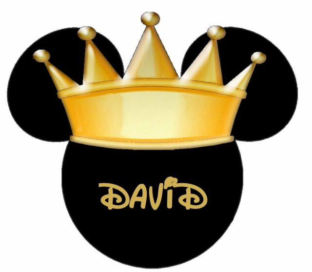 DISNEY KING CROWN MICKEY MINNIE  MOUSE  PERSONALIZED T-SHIRT IRON ON TRANSFER