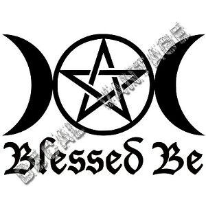 Blessed-Be-Triple-Moon-Vinyl-Sticker-Decal-Wicca-Nature-Choose-Size-amp-Color