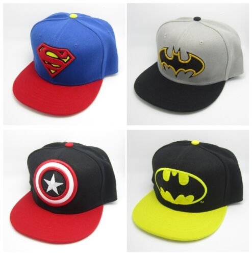 New Superman Batman Captain Snapback Baseball Cap Hat Adjustable For Child Kid