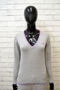 Maglione-FRED-PERRY-Donna-Taglia-S-Pullover-Cardigan-Sweater-Woman-Grigio-Lana