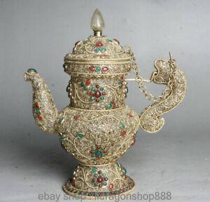 12-cm-en-filigrane-tibetain-silver-gemstone-dragon-vieux-pot-de-vin