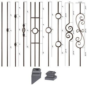 Image Is Loading SOLID Satin Black Modern Series Iron Balusters Wrought