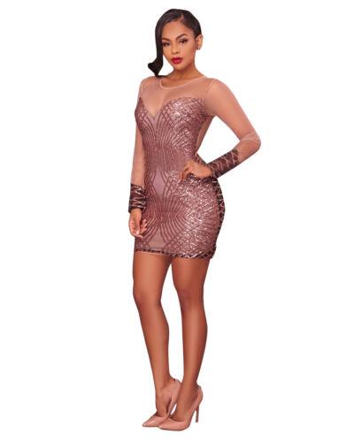 M Party Zip Ricamato Aderente Cerimonia Abito Dress Nudo Pailette Sequin Aperto qgpcTOwU