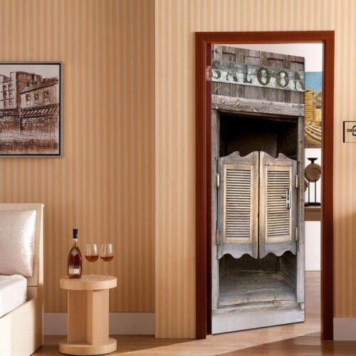 2pcs 3D Door Wall Fridge Sticker Mural Scene Self Adhesive Home Art  Decor Decal