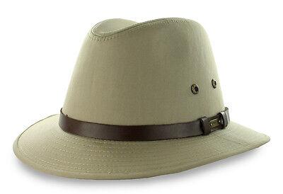 Stetson Khaki Safari Hat Rain Repellent Cotton M L XL XXL Sun Fishing Fedora