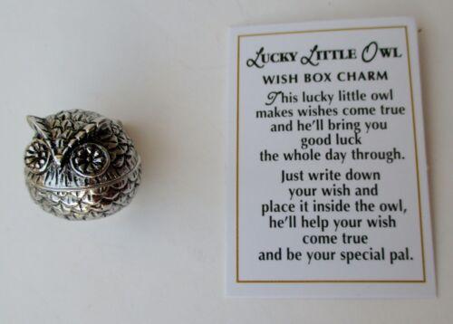 J Lucky Little OWL Wish Box prayer POCKET keepsake CHARM good luck trinket ganz