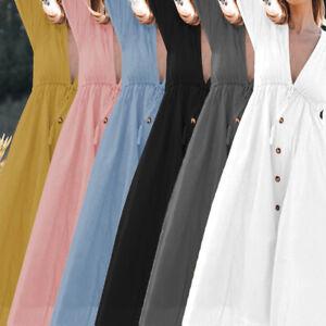 Womens-Summer-V-Neck-Loose-Beach-Holiday-Shirt-Long-Maxi-Swing-Dress-Sundress
