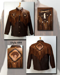 Veste-a-franges-Western-Country-Cuir-Marron-034-ours-034-CANADA