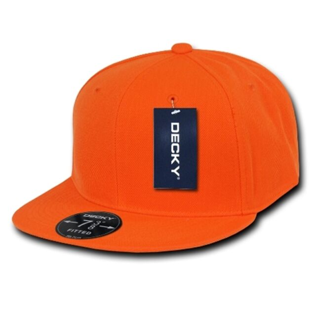 Decky Plain Blank Retro Fitted Flat Bill Baseball Solid Color Hat Cap RP  Orange 7 1 8 f8d5d4e624da