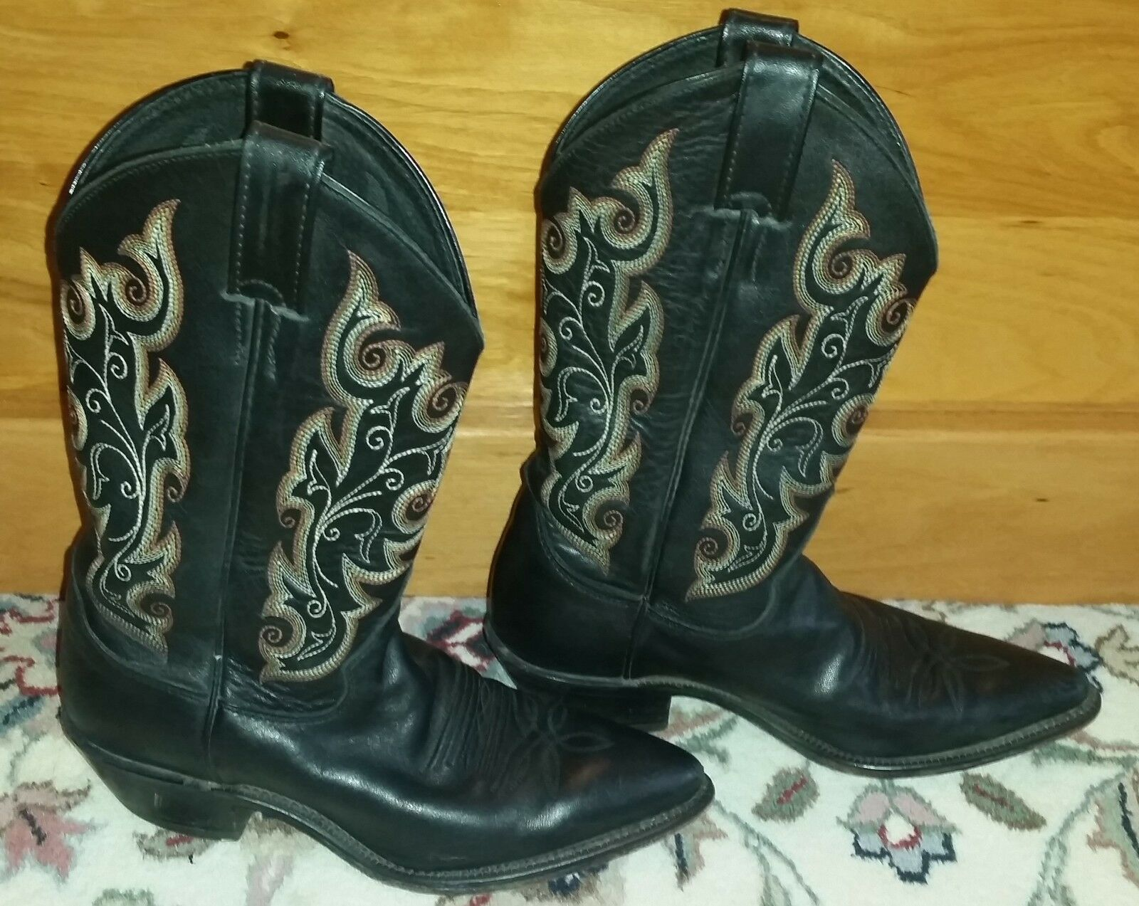 Justin Womens Cowboy Boot Western Black Chester Leather Cowhide R Toe L4921 US 6