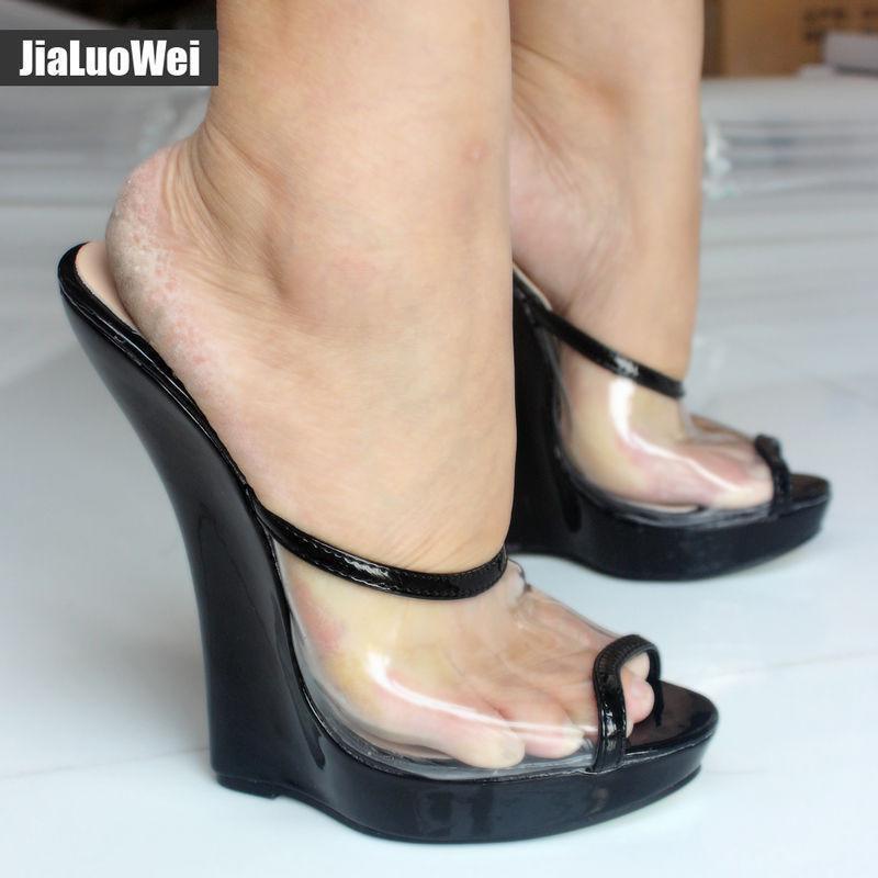 Donna Sexy Pump Clear Transparent Sandal 18cm High Heel Wedges Peep Toe scarpe